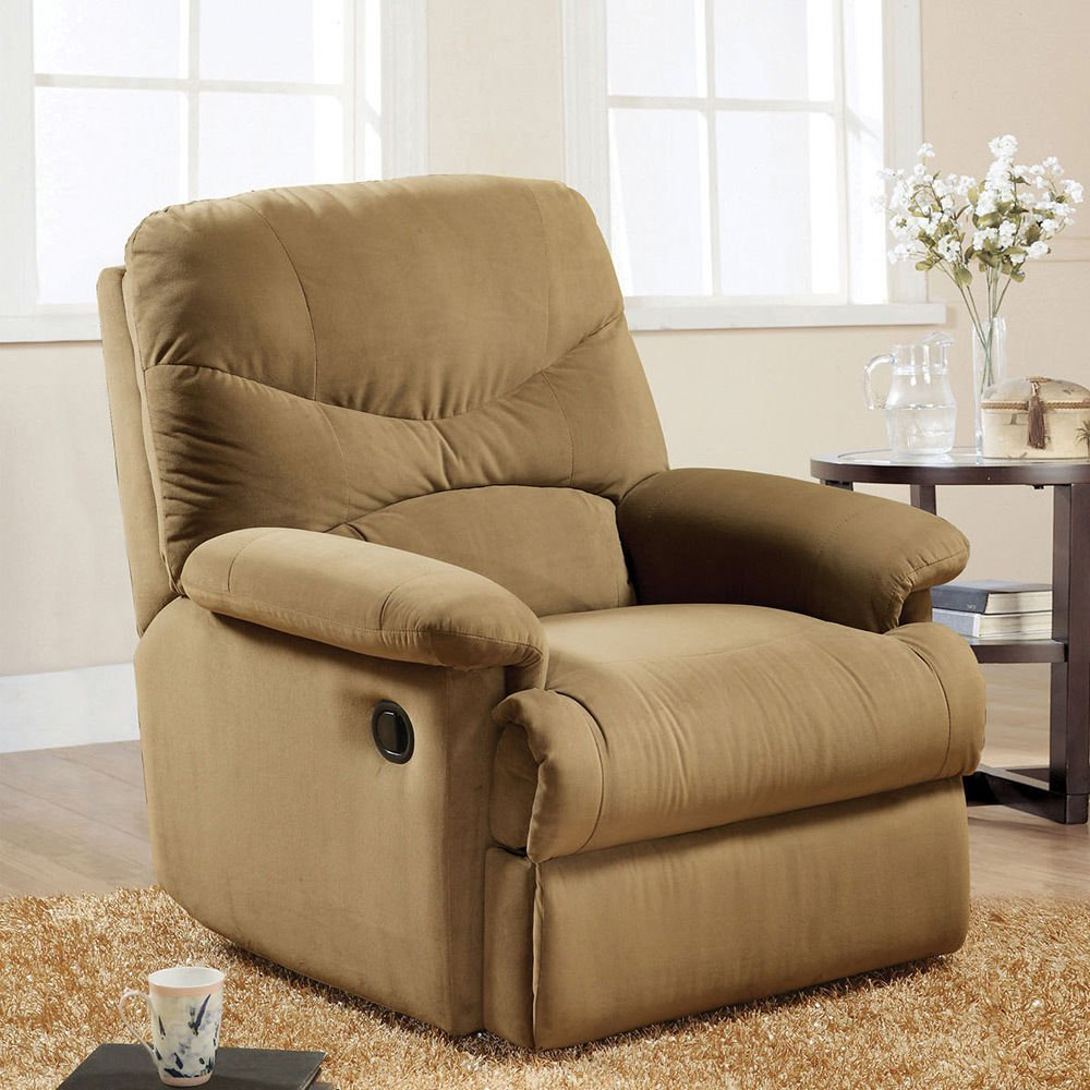 Get Quotations · 1PerfectChoice Arcadia Comfort Plush Glider Recliner Chair  Lazy Boy Light Brown Microfiber