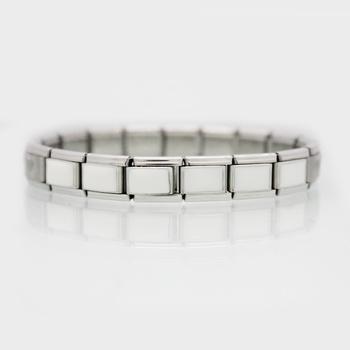 1675c25e6 Classic size 9mm composable links hand enamel white stainless steel Italian Charm  link bracelet