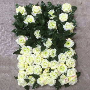 High Quality Leaves&Rose Silk White Flower Wall Artificial Flower Wedding Backdrop for Wedding Decoration
