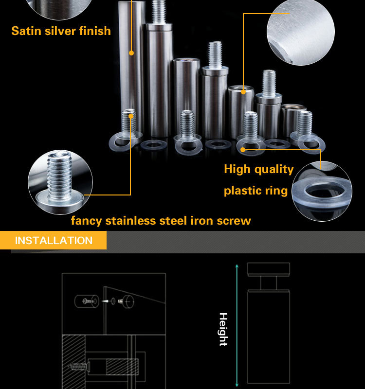 Different Size Glass Standoffs Spacer For Glass Table
