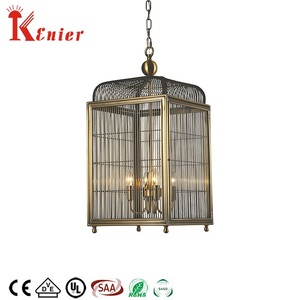 Contemporary Kitchen Vintage Metal Steel Antique Bird Cage Pendant Light