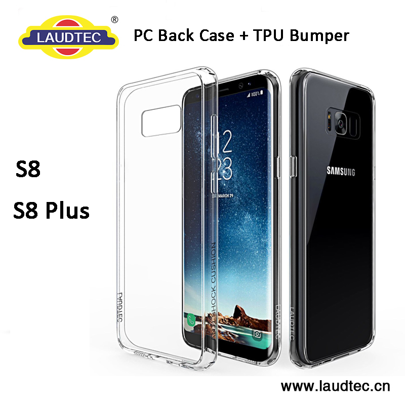 LAUDTEC Anti-Yellow Bayer Material Transparent crystal Clear TPU+PC bumper Case for Samsung Galaxy S8