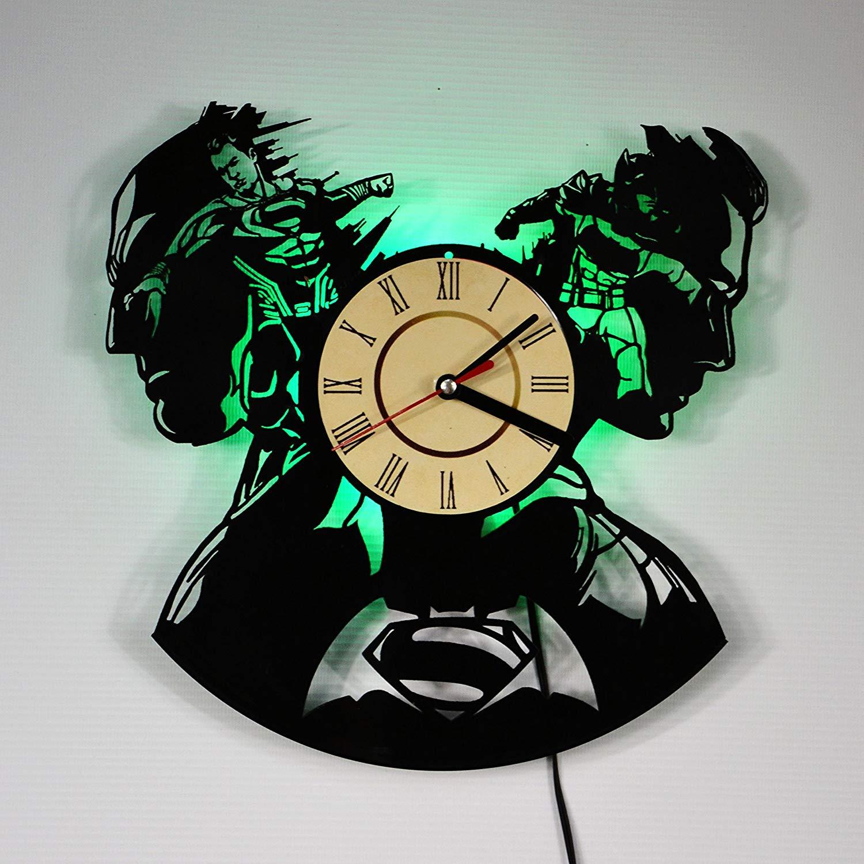 Batman vs Superman LED Backlight Vinyl Wall Clock Night Color Change Atmosphere Light Lamp Creative Classic Cool Living Room Interior Decor Led Time Clock With Color Green Light