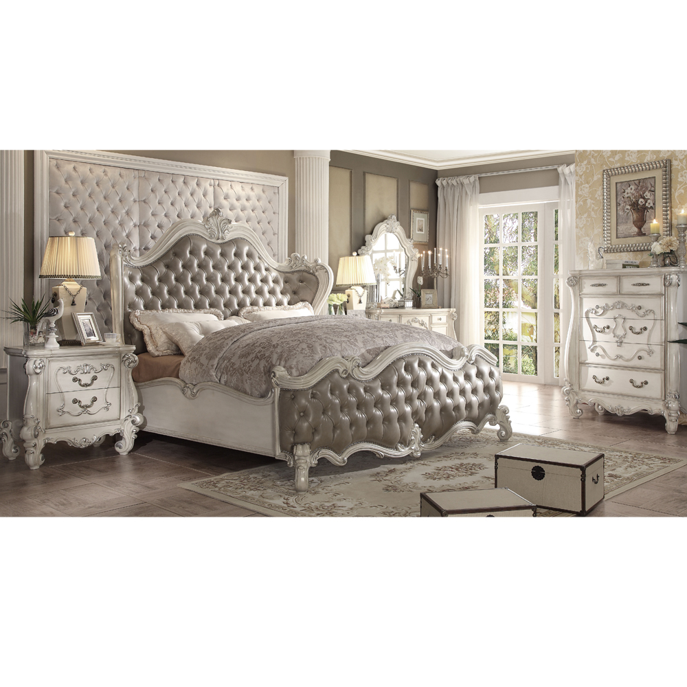 - Mirrored Headboard Royal King Canopy Bedroom Set - Buy Mirrored