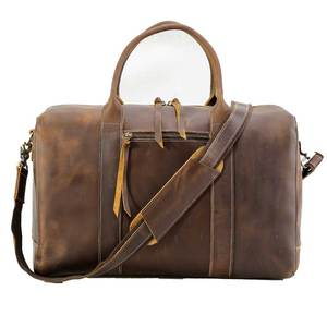 Tiding High Quality Vintage Style Crazy Horse Leather Travel Duffle Bag Mens Flight Bag