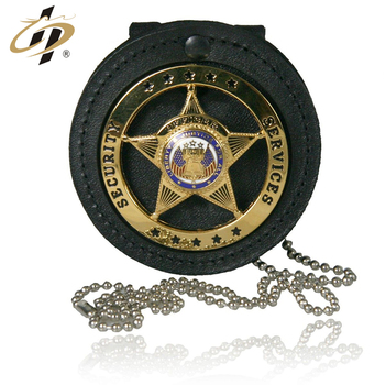 Custom 3D metal military round neck badge holder with chain