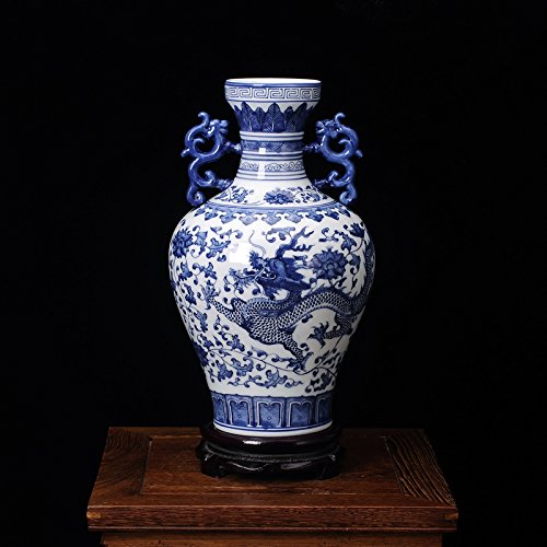 ufengke®Blue And White Porcelain Binaural Dragon Vase
