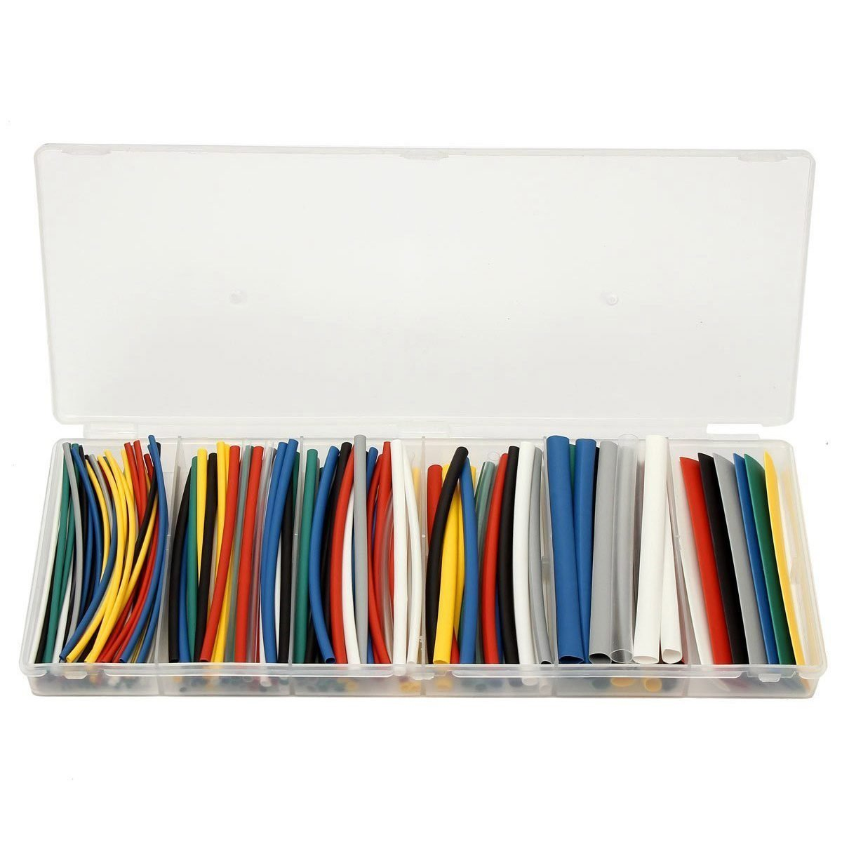SODIAL(R) 176pcs 2:1 Polyolefin Halogen-Free Heat Shrink Tube Sleeving 8 Color 6 Size