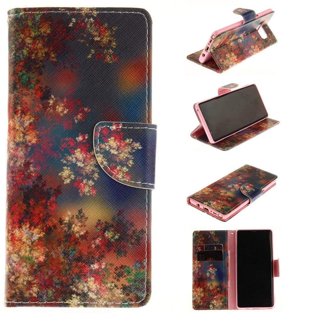 Galaxy Note 8 Case,XYX [Color Flower][Double Design][Kickstand][Card Slots] Premium PU Leather Phone Wallet Case for Samsung Galaxy Note 8