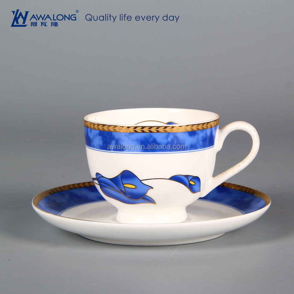 Awalong bone china tea cups with saucers / Korean style tea cup with saucer porcelain material