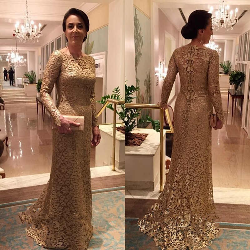 2016 Lace Mermaid Mother Of The Bride Dresses Groom: Robe De Soiree Gold Lace Mermaid Long Evening Dresses 2016