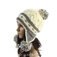 2016 hot sale New products Women's Winter Warm Crochet Cap with Ear Flaps Knitted
