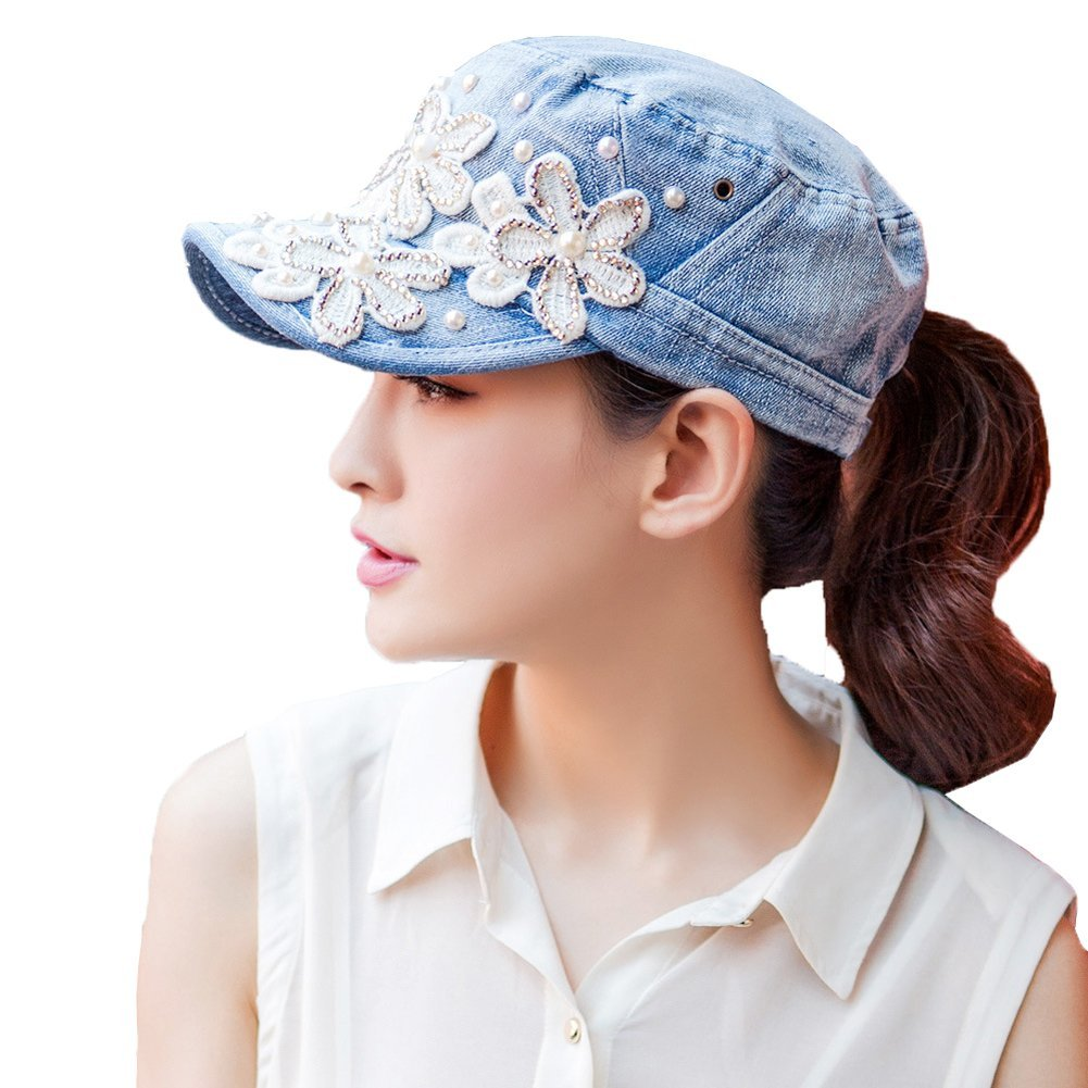 Yimidear Female UV sun hat Cowboy hat Lady summer outdoor sports visor cap Women Baseball cap Peaked cap (Middle Blue)