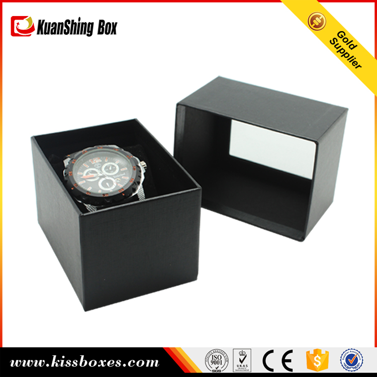 Custom cheap black paper watch box with EVA slot and C ring