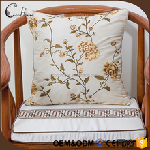 2017 the newest design for home decorative flower embroidery silk fabric pillow