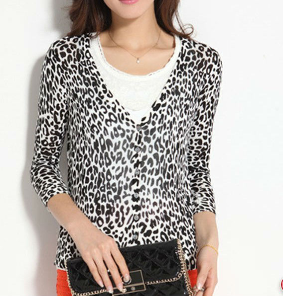 2013 Womens Leopard Slim Waist 3/4 Sleeve V-neck Air Conditioning Knit Cardigan