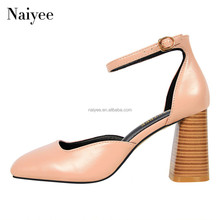 ladies high heel thin straps square-toe women chunky heel sandal shoes
