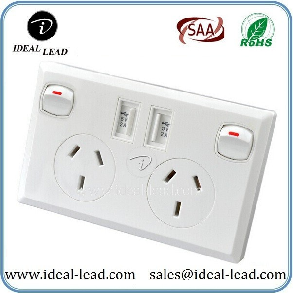 5V 3.1A AU Wall Socket with USB Port and switch