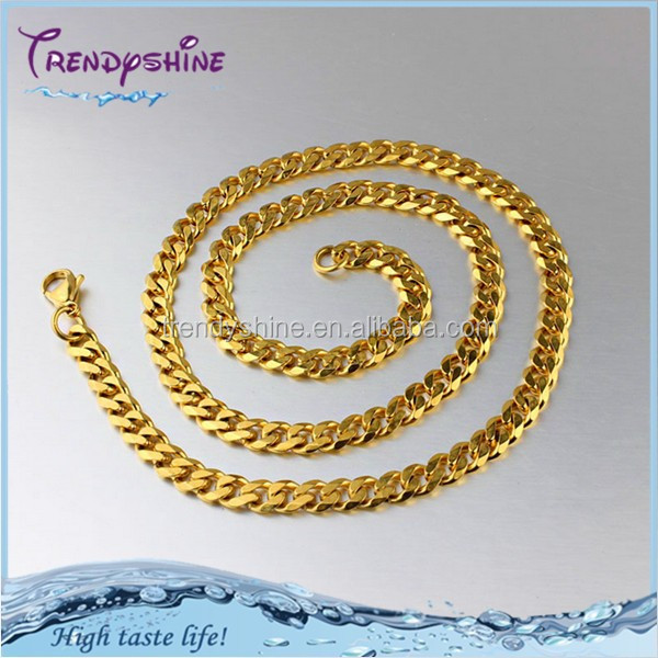 Fashion saudi gold plated stainless steel men necklace