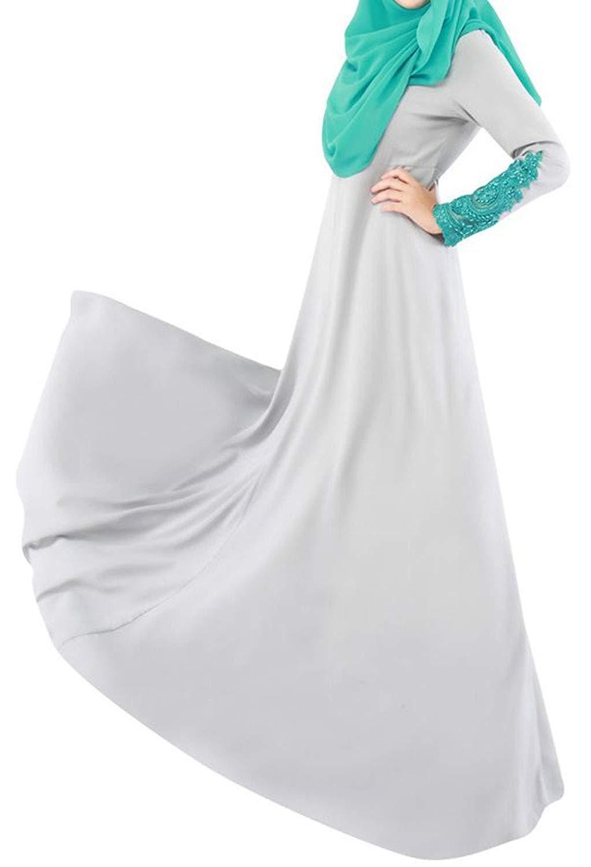 71e96dbe09ec1 Get Quotations · Lutratocro Womens Islamic Muslim Gown Lace Stitching  Malaysia Abaya Maxi Dress