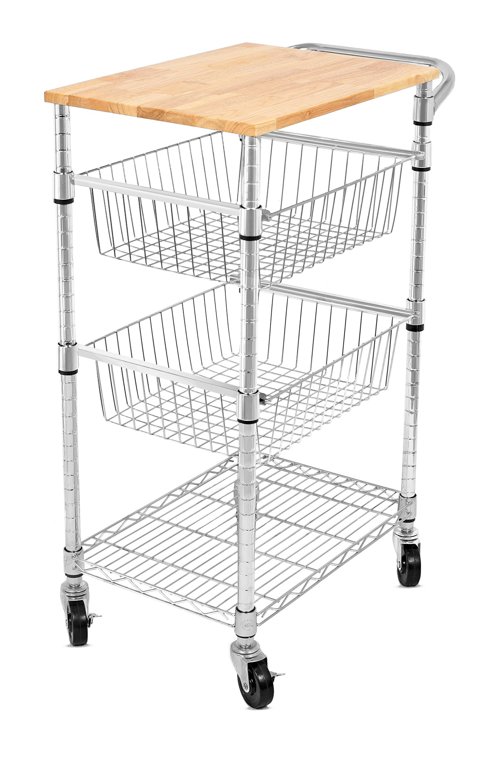 Internet's Best 3-Tier Kitchen Cart with Wire Baskets | Kitchen Island Trolley with Locking Wheels | Removable Cutting Board | 2 Sliding Wire Baskets for Cooking Utensils or Food Storage