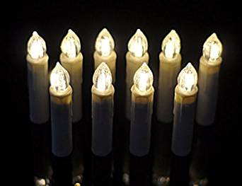 Tree Candles 10pcs warm white LED + Wirelessly to attach with clip including remote control for any Party