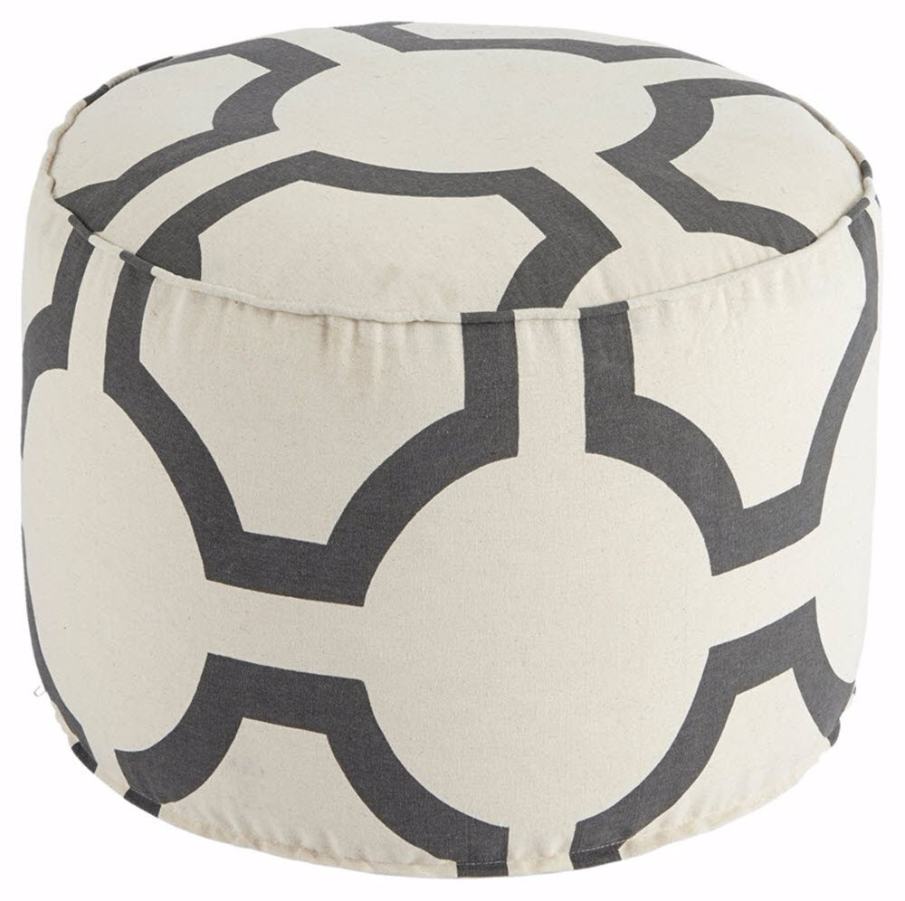 Ashley Furniture Signature Design - Geometric Pouf - Handmade - Imported - Traditional - Charcoal