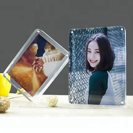 Custom mini acrylic stand photo frame with base