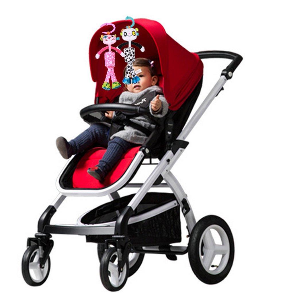 BabyPrice Baby Rattles Crib Plush Animals Toys Dolls Pram Stroller Attachment Toys Bedding Hanger for Infant Toddler Calico
