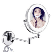 High end economical european-style wall mounted vanity cosmetic magnifying makeup mirror with LED Light