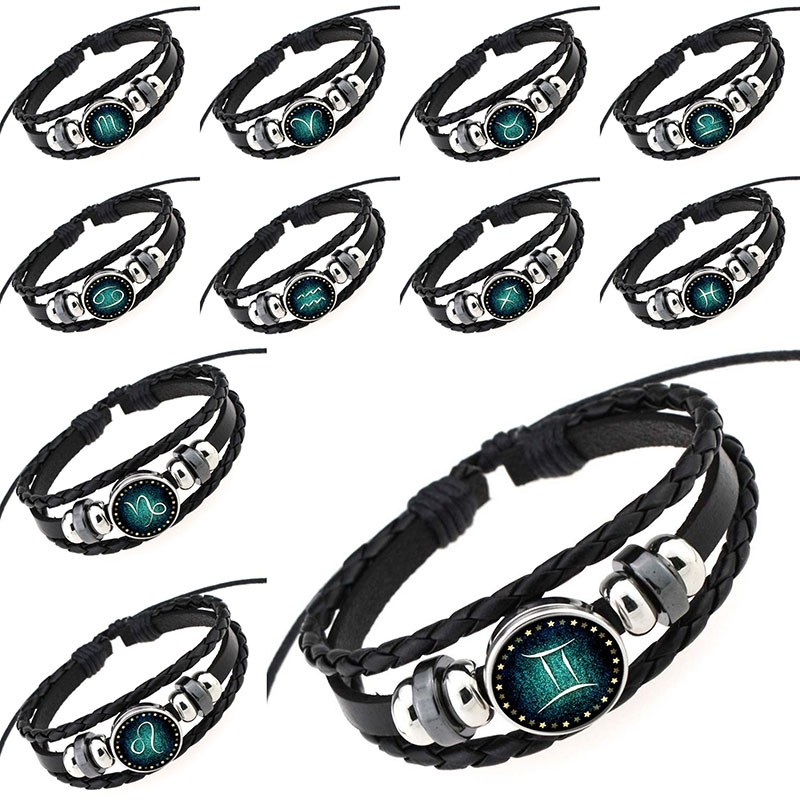 2018 New 12 Zodiac Signs Leather Bracelet For Men Women Virgo Libra Scorpio Aries Taurus Bracelets Women Men Jewelry Pulseras Elegant In Smell Jewelry & Accessories Charm Bracelets