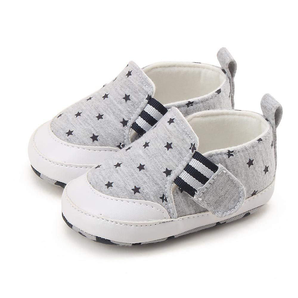 Jshuang Baby Star Print Casual Toddler Shoes, Newborn Baby Girl Boy Print Crib Shoes Soft Slip Sneakers, 0~18 Month Girl Boy Shoes (Gray, 12)
