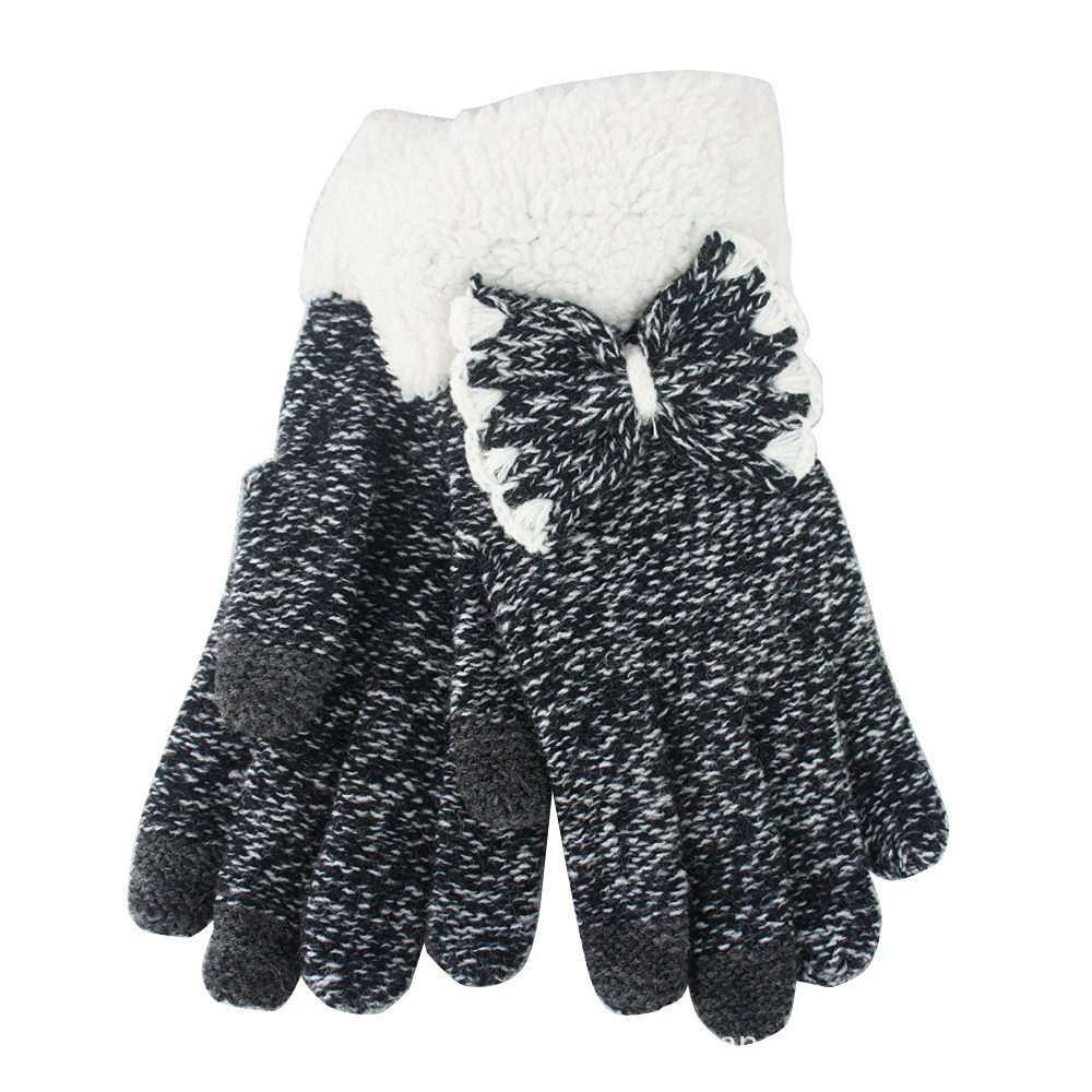 Yakamoz Magic Knit Girls Women Lovely Chic Bowknot Smart Touch Screen Winter Winter Warm Gloves for Iphone Ipad Smart Phone with Free Stylus Pen (Snowflake Black)
