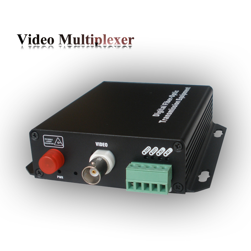 Single mode 1 channel forward video + 1 reverse dry contatct fiber optic transmission equipment