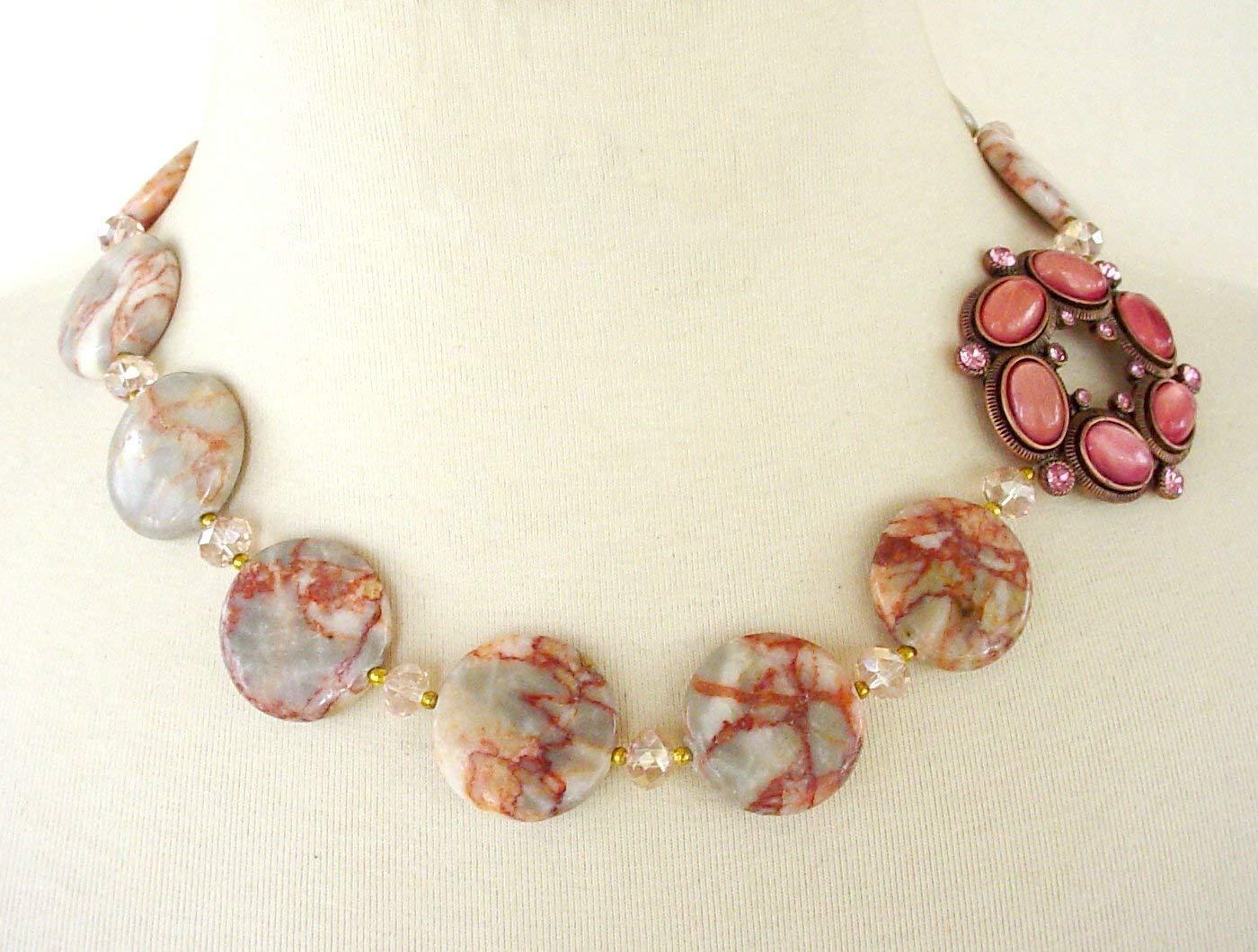 Vintage Brooch Necklace, Asymmetrical Statement Necklace, Coral Jasper Coin Beads, Matching Bracelet