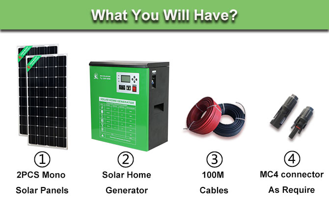 5000Wh 당 일 Solar 홈 발전기 와 모 노 크 Panel Battery