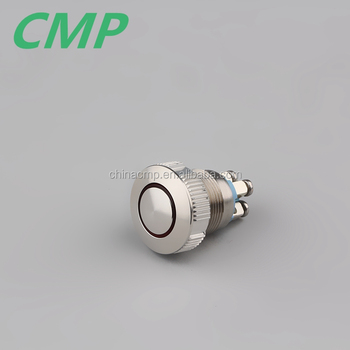 19mm Screw Terminal Ring LED Metal Illuminated Push Button Switch