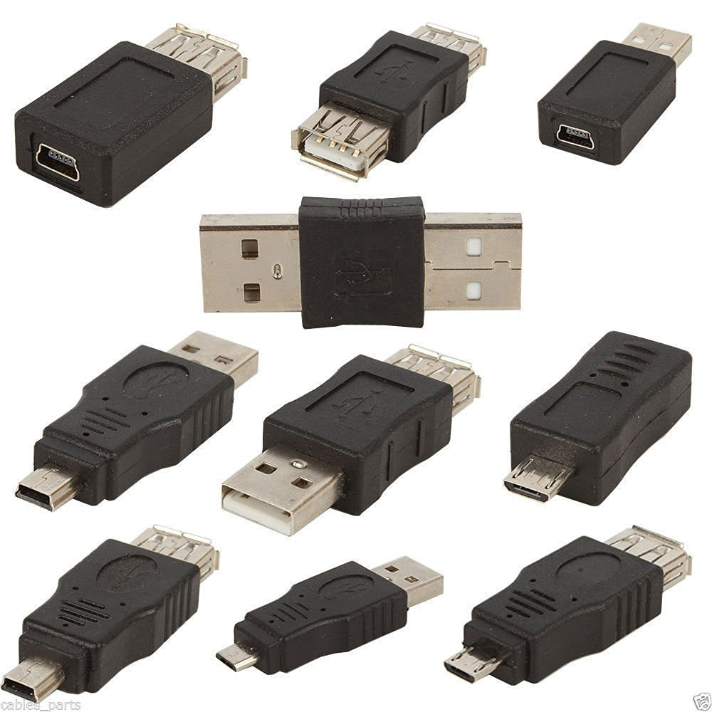 10pcs OTG 5 pin F/M mini changer adapter converter USB male to female micro USB