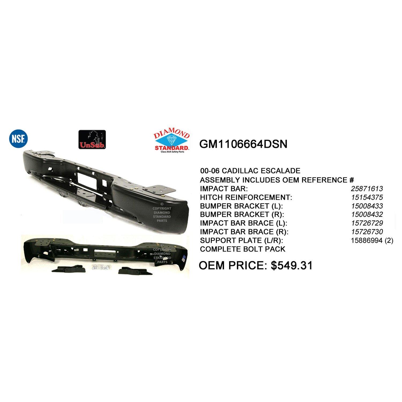 Crash Parts Plus Crash Parts Plus NSF GM1106664 Rear Bumper Reinforcement for Cadillac Escalade