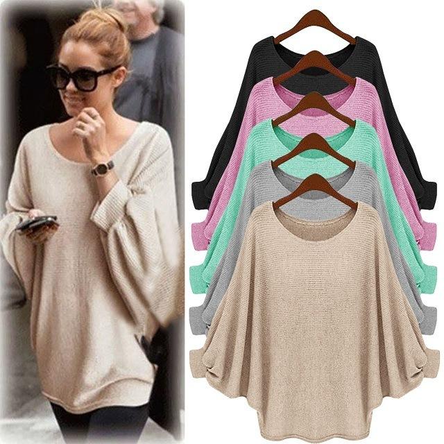 Hot Selling Spring Irregular Girl Knitting Cape Loose Women Sweater