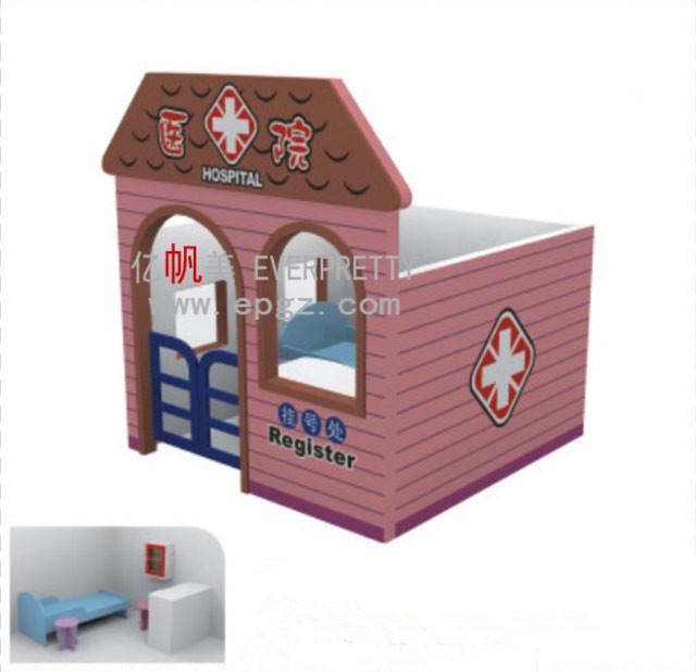 Hot sale indoor amusement doll house, indoor mindi wood craft dolls  furniture