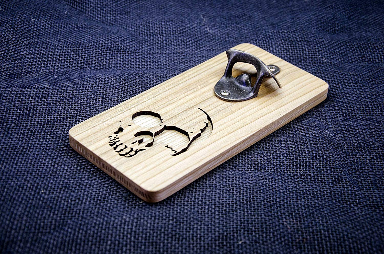 Solid Brass Fish Bottle Opener in Wooden Box with Inlaid Anchor UD