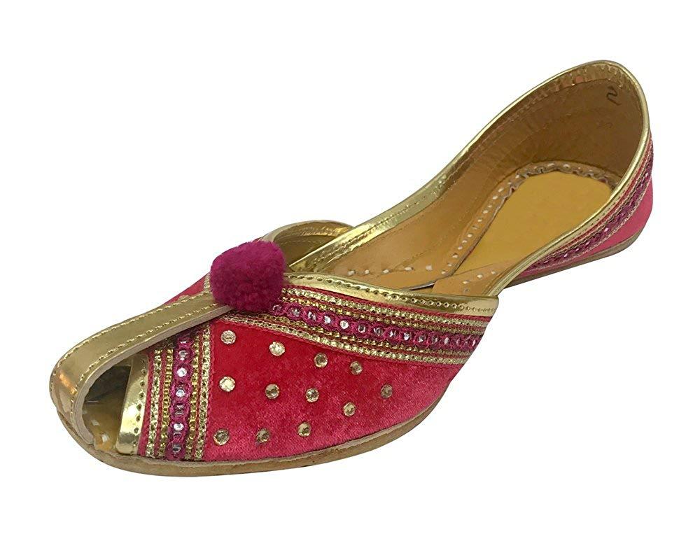 f711bb0746a2 Get Quotations · Step n Style Women Velvet   Leather Khussa Shoes Punjabi  Jutti Indian Handmade Ballet