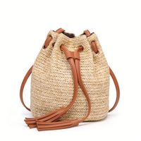 2019 Ins New Fashion Rope Single Shoulder Bags Minimalism Weave Fringed Straw Bucket Bag