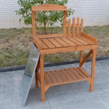 Outdoor Flower Planter Shelf Foldable Wooden Potting Bench