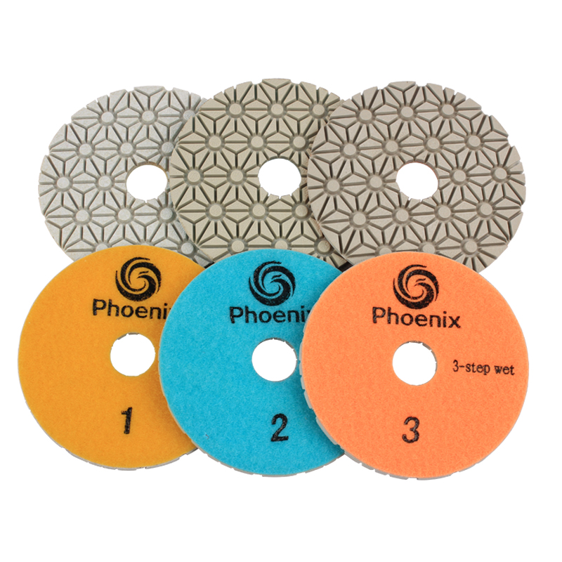 Raizi 4 Inch Diamond Wet Polishing Pads Set Kit for Granite Marble ES Edge