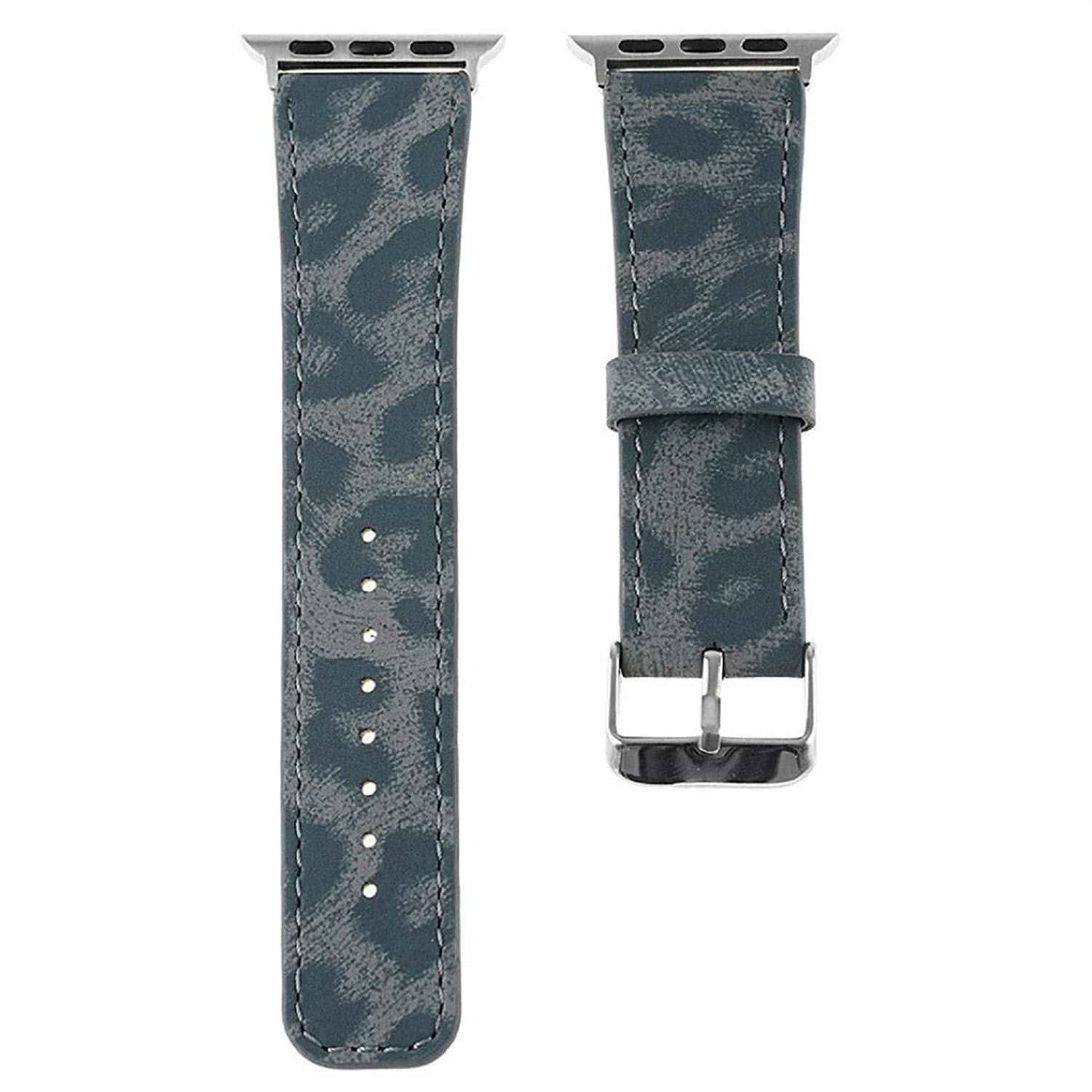 Owill Leopard Striped Pattern Leather Strap Replacement Watch Band For Apple Watch 42MM/ Suitable Wrist 160-225MM (Blue)