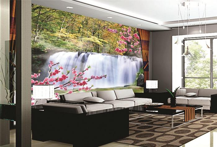 Personalizado Inddoor Papel Decorativo De Pared Cascada Naturaleza Paisaje  Diseño Papel Pintado Decorativo Para Decoración Interior