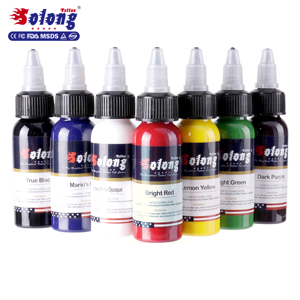 Solong tattoo superieure 7 kleuren beste permanente up tattoo ink