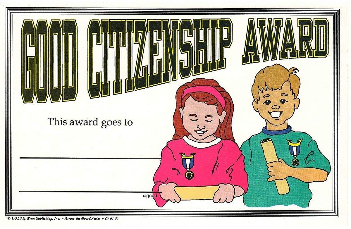 Good Citizenship Student Achievement Award Certificates